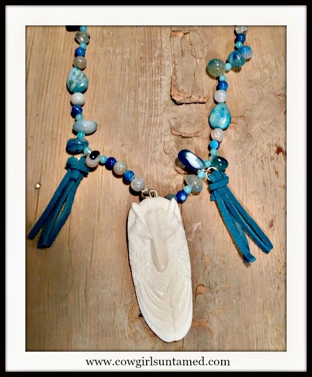 GYPSY SOUL NECKLACE Bone Carved Wolf Turquoise Tassel Pendant on Blue Gemstone Boho Necklace