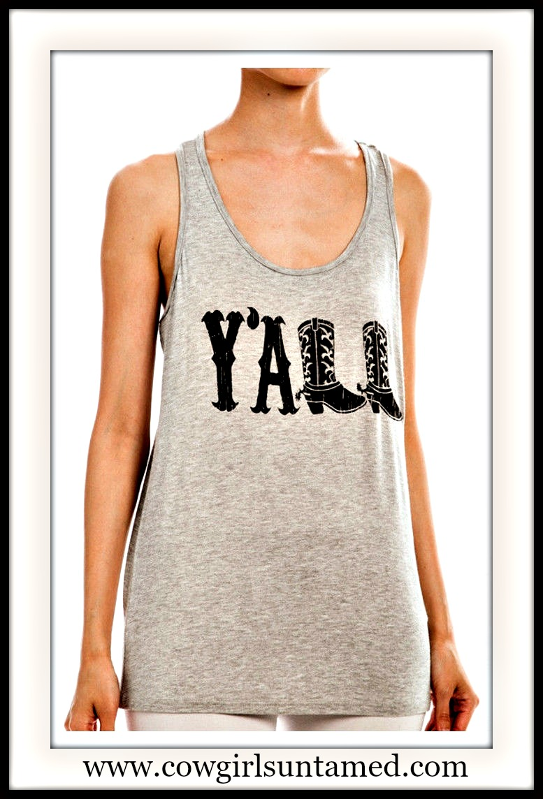 "COWGIRL STYLE TANK TOP ""Y'all"" Black Cowgirl Boots on Khaki Racerback Tank Top"