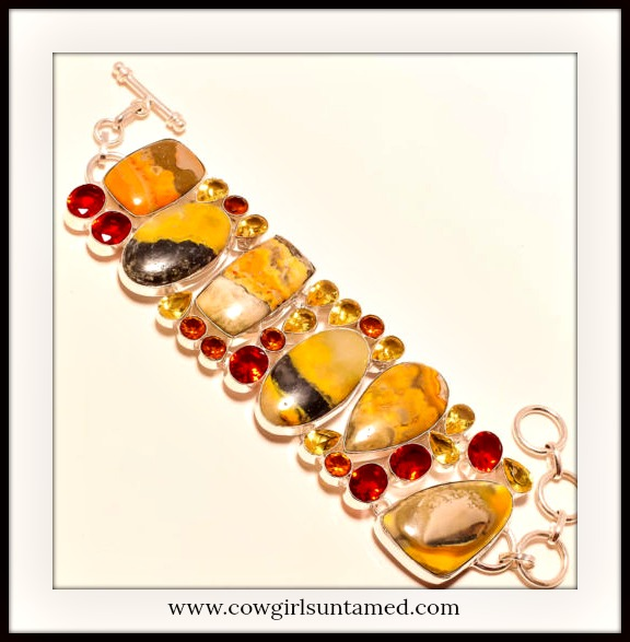 COWGIRL GYPSY BRACELET Yellow Bumble Bee Jasper & Citrine Red Garnet 925 SS Bracelet