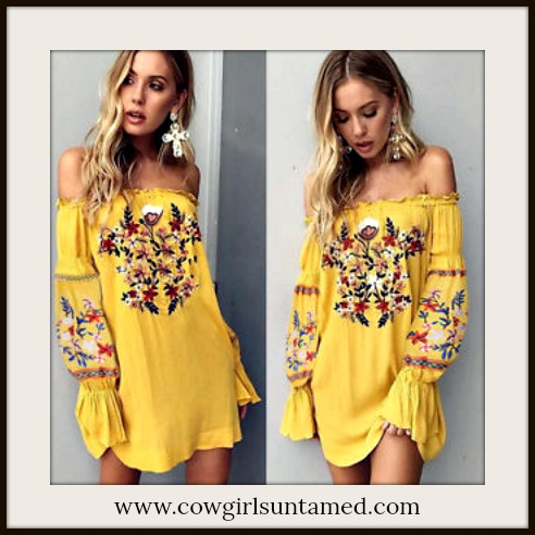 BOHEMIAN COWGIRL DRESS Multi Color Floral Embroidery on Yellow Half Sleeve Off The Shoulder Dress