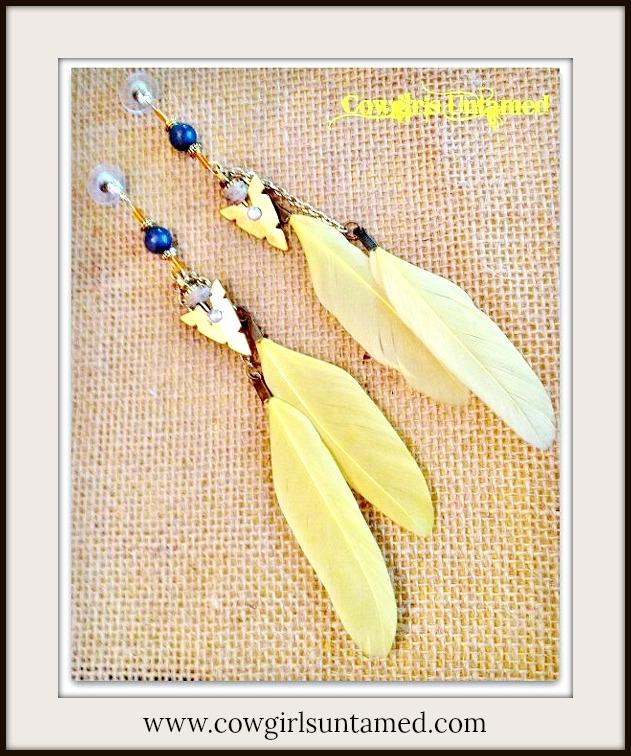 COWGIRL GYPSY EARRINGS Yellow Feather ORANGE AND Grey Arrowhead Charm Western Earrings