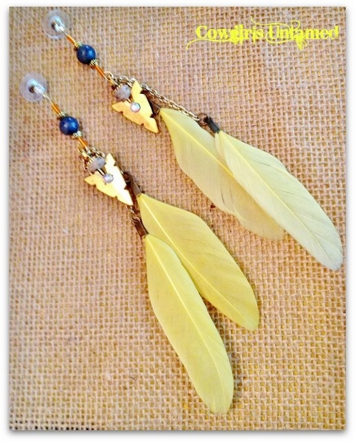 COWGIRL GYPSY EARRINGS Yellow Feather ORANGE AND Grey Arrowhead Charm Western Earrings