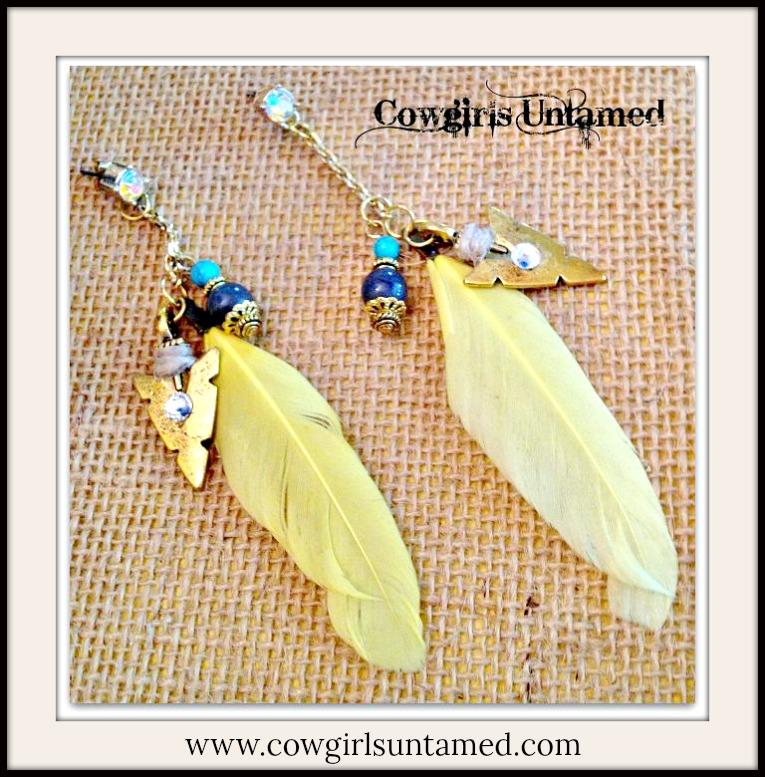 COWGIRL GYPSY EARRINGS Swarovski Crystal Brass Arrowhead Yellow Feather Grey Jade & Turquoise on Gold Rhinestone Long Western Earrings