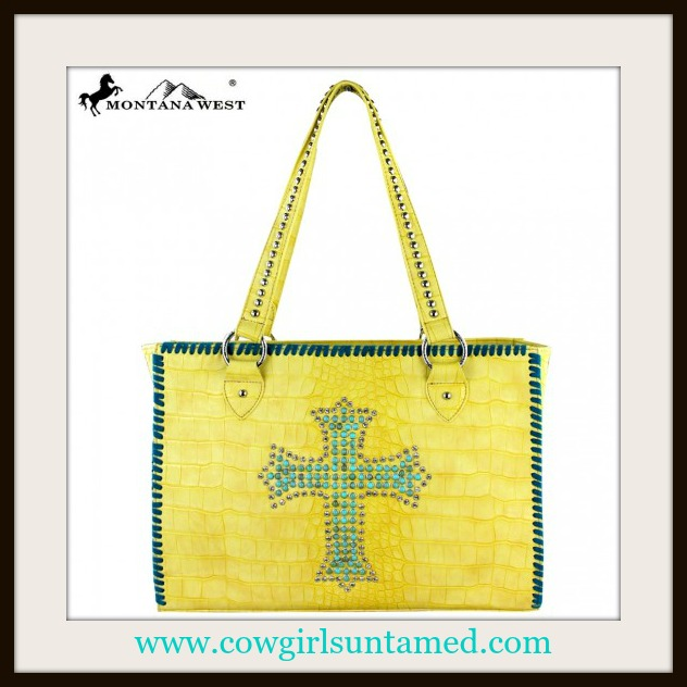 SPIRITUAL COWGIRL HANDBAG Turquoise Cross Teal Stitching on Embossed Yellow Tote