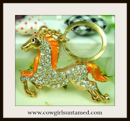 HORSE LOVIN' COWGIRL Beautiful Golden Yellow Rhinestone Horse Keychain
