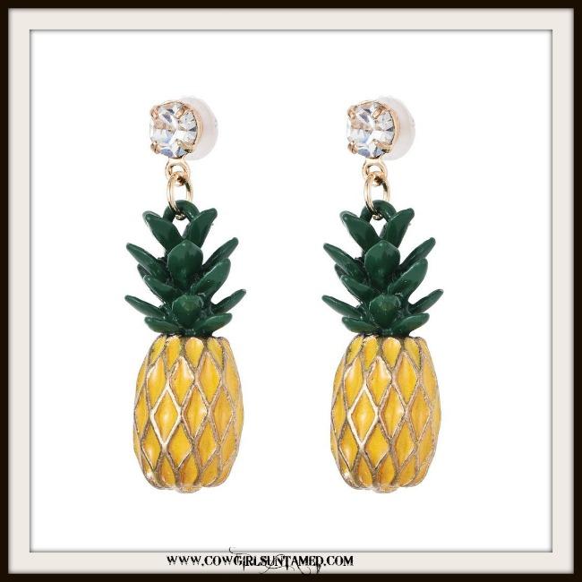 SOUTHERN BELLE EARRINGS Yellow Pineapple and Rhinestone Earrings