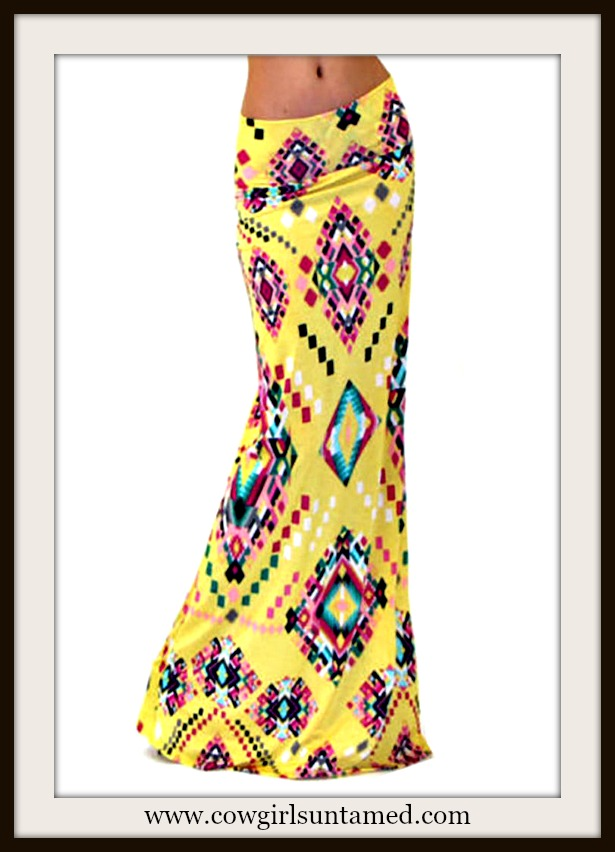 COWGIRL GYPSY SKIRT Multi Color Geometric Aztec Long A-Line Yellow Boho Maxi Skirt