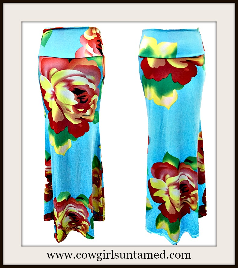 COWGIRL GYPSY SKIRT Yellow & Red Floral Aqua Blue Long A-Line Boho Maxi Skirt