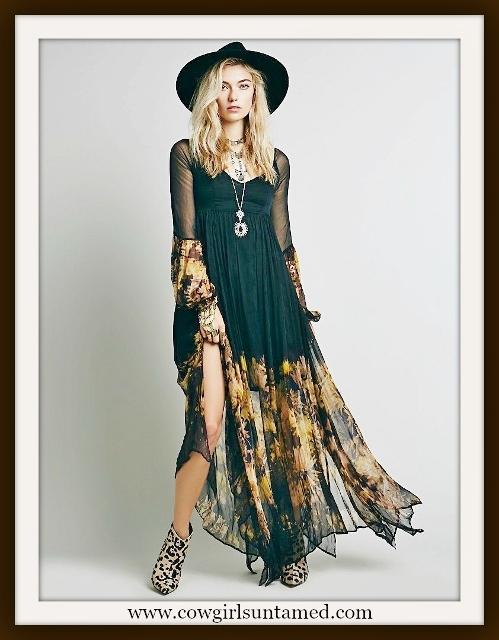 WILDFLOWER DRESS Yellow Sunflowers on Black Chiffon Long Sleeve Boho Dress