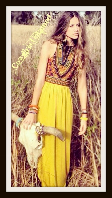 COWGIRL GYPSY DRESS Tribal & Sunflower Print Boho Sleeveless Maxi Dress