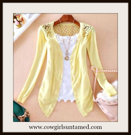 COWGIRL GLAM SWEATER Yellow Sheer Crochet Floral Lace Back  Asymmeetrical Hem Cardigan