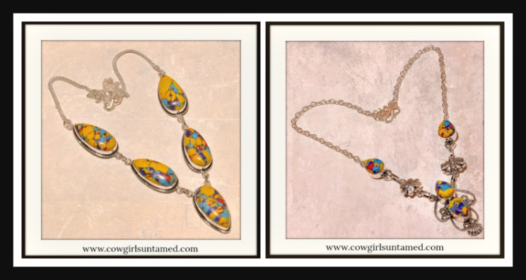 BOHEMIAN COWGIRL NECKLACE Yellow Turquoise Red Purple Jasper SS Boho Necklace