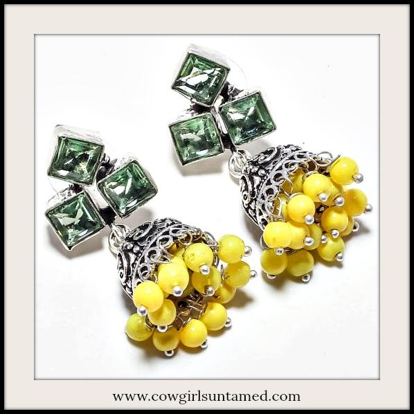 BOHO CHIC EARRINGS Green Amethyst & Yellow Chalcedony Boho Bell Sterling Silver Earrings