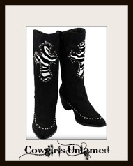 COWGIRL GLAM BOOTS Crystal Trimmed  Zebra Cross Black Suede Western Boots