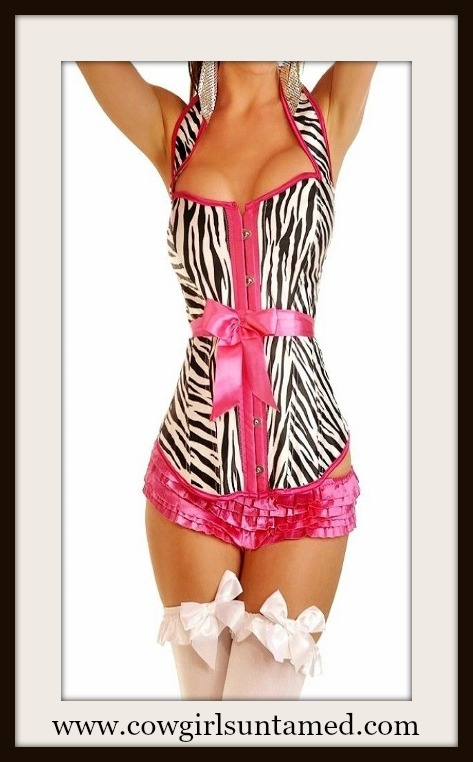 CORSET - Hot Pink Trim and Belt on Black  & White Zebra Lace Up Back Corset Top