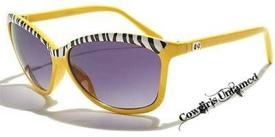 COWGIRL PINUP SUNGLASSES Zebra and Yellow Retro DG Sunglasses
