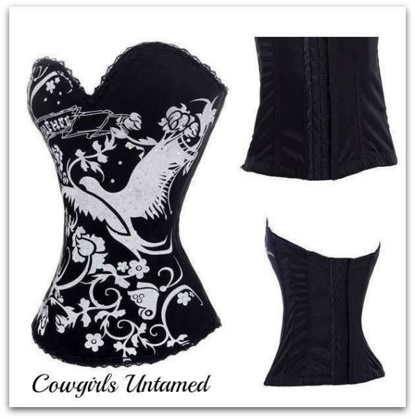 CORSET - GOLD Dove Butterfly Floral Rhinestone Tattoo Boned Lace N Chain Western Corset Bustier Top