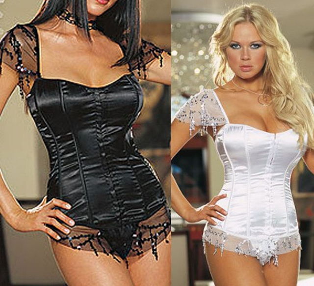 CORSET - Lace and Sequin Sleeves and Trim on Satin Lace Up Back Western Corset Top