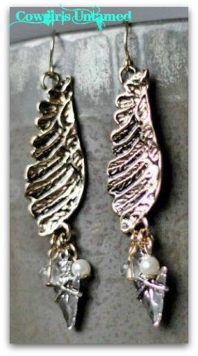 COWGIRL STYLE EARRINGS Pearl Arrowhead Antique Silver Charms on Angel Wing Western Earrings