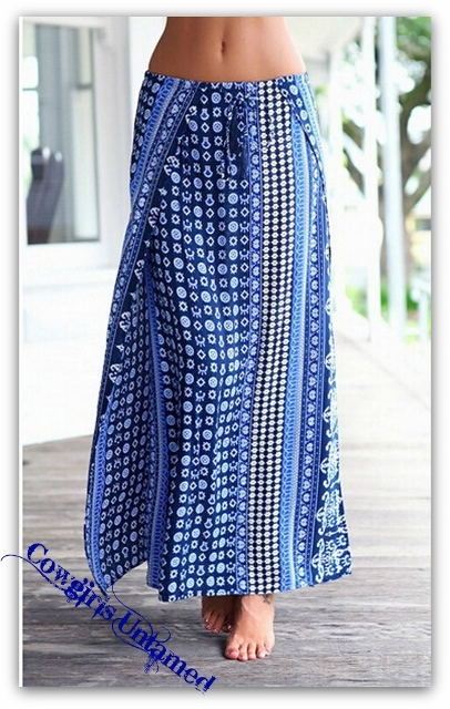 WILD FLOWER SKIRT Many Shades of Blue Tribal Print Long Boho Maxi Skirt