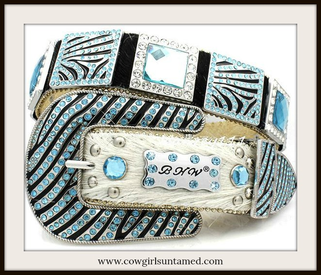 COWGIRL BELT Hair on Hide Western Cowgirl Leather Bling Zebra Crystal Concho Belt