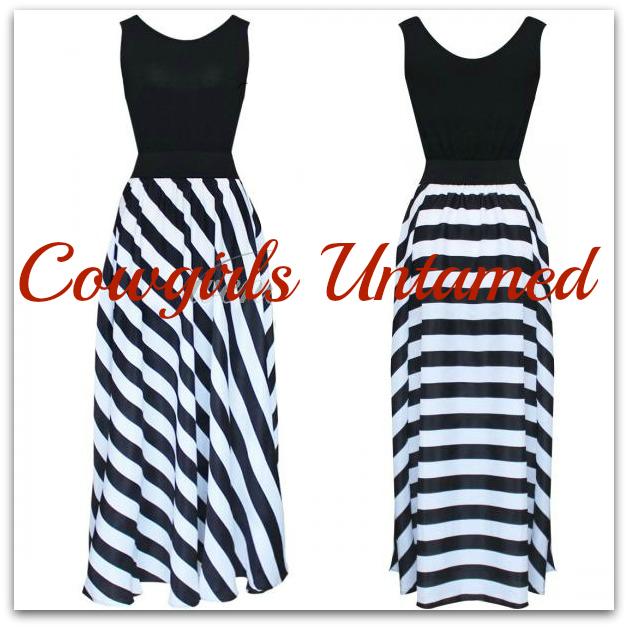 cowgirls rock dress black n 39 white striped chiffon maxi. Black Bedroom Furniture Sets. Home Design Ideas