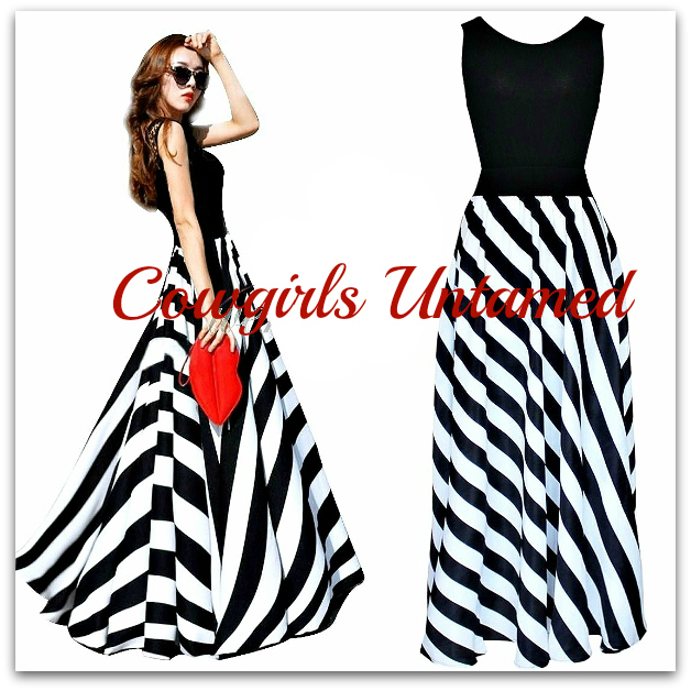 COWGIRLS ROCK DRESS Black N' White Striped Chiffon Maxi Dress