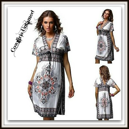 COWGIRL GYPSY DRESS Paisley Empire Elastic Waist V Neck & Back Boho Mini Dress