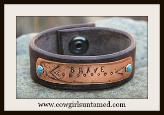 "COWGIRL ATTITUDE CUFF ""Brave"" Arrows on Copper Brown Genuine Leather Bracelet"