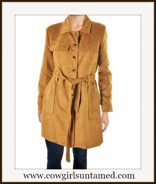 SANCTUARY COAT Brown Faux Suede Designer Trench Coat