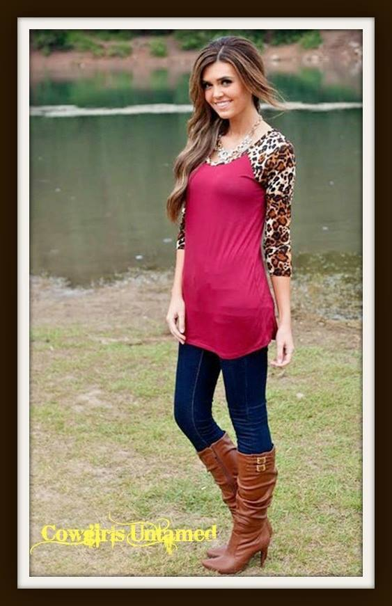 COWGIRL GYPSY TOP  Burgundy and Leopard 3/4 Sleeve Tunic Top