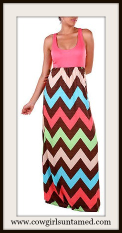COWGIRL GYPSY DRESS Chevron Stripe SleevelessChiffon Maxi Dress