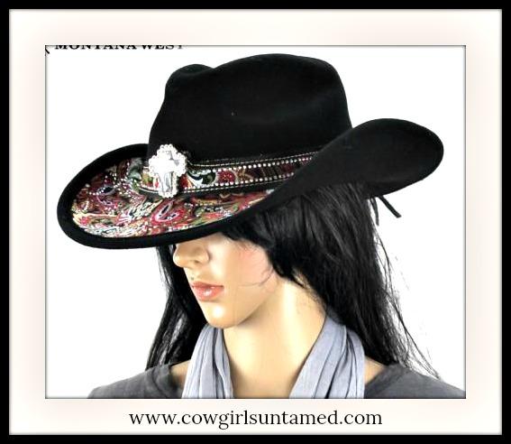 COWGIRL GYPSY HAT Crystal & Rhinestone Cross & Paisley Lined  Fur Felt Hat