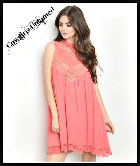 WILDFLOWER DRESS Coral Lace Crochet High Neckline Sleeveless Cotten Boho Mini Dress