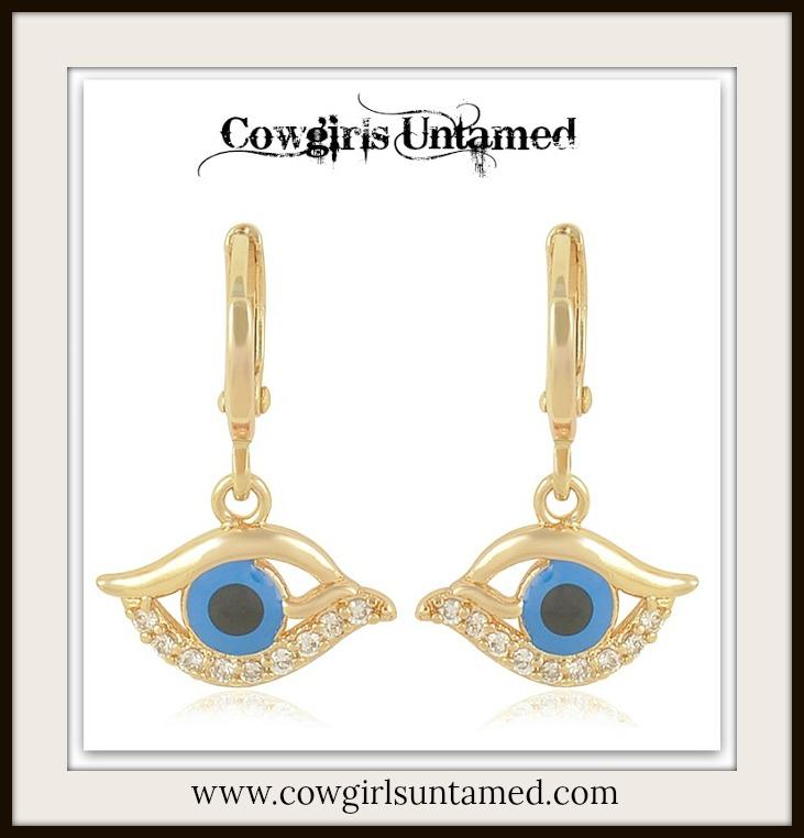 COWGIRL GYPSY EARRINGS Dark Blue Enamel Evil Eye Cubic Zirconia 9K Gold Filled Boho Earring