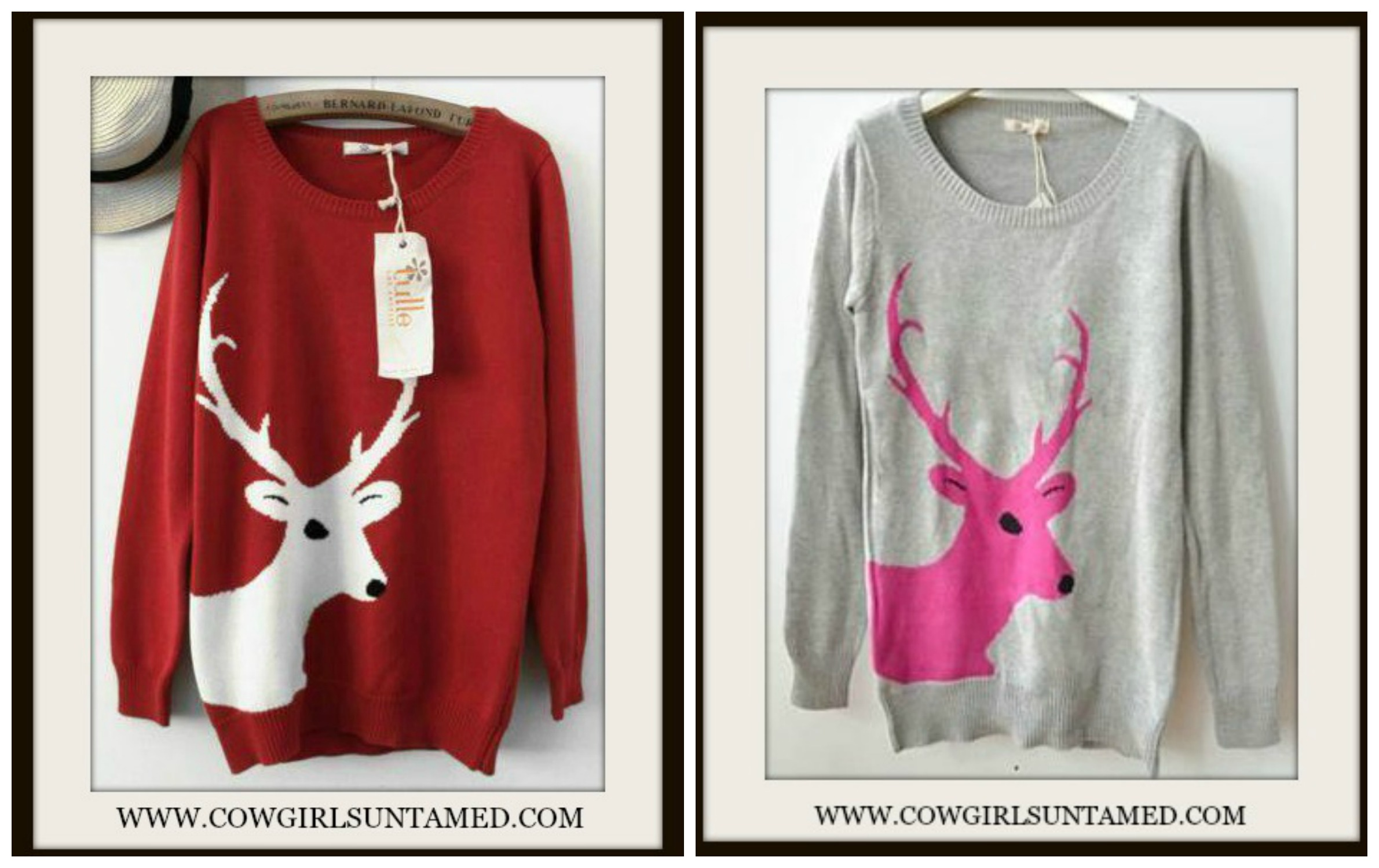 COUNTRY COWGIRL SWEATER Deer on Fitted Long Sleeve Scoop Neck Knit Sweater