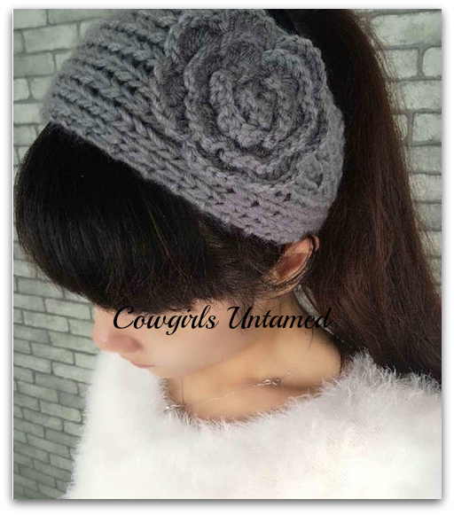 COWGIRL GYPSY HEAD WRAP Gray Crochet Flower on Wool Knit Western Headband
