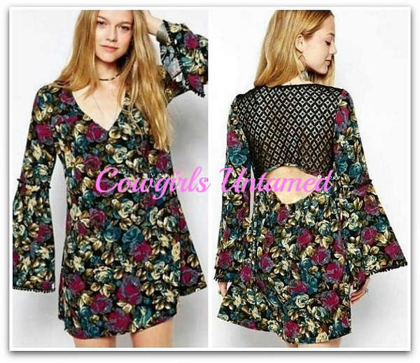 COWGIRL GYPSY DRESS Floral Long Bell Sleeve Lace Open Back Boho TUNIC TOP