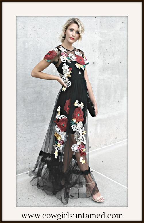 BOHO CHIC DRESS Beautiful Floral Embroidery on Black Mesh Maxi Dress