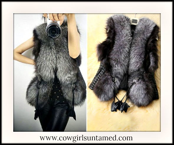 COWGIRL GLAM VEST Black Faux Fix Fur and Leather Vest