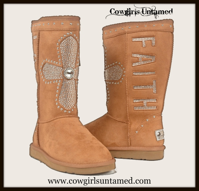 "COWGIRL STYLE BOOTS Rhinestone Cross and ""Faith"" on Tan Suede COMFY Fur Lined Cowgirl Winter Boots"