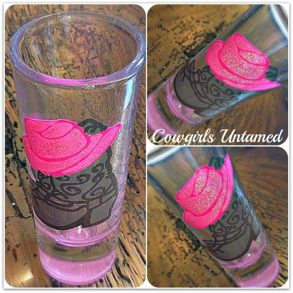 COWGIRL STYLE GLASS Hot Pink Western Boots With Cowgirl Hat Western Shot Glass