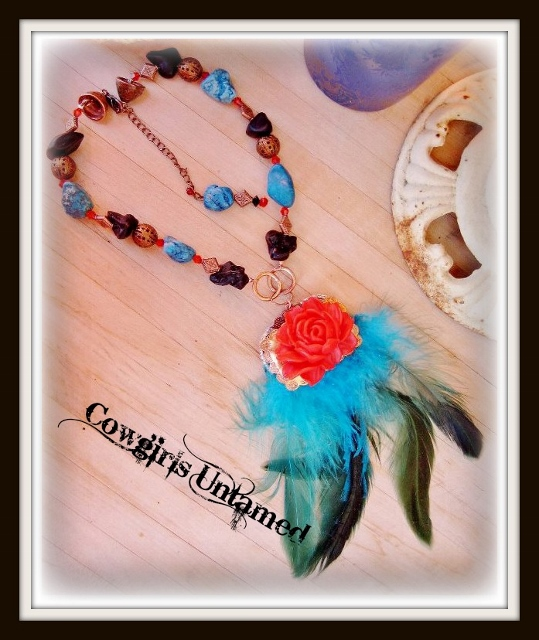 COWGIRL GYPSY NECKLACE Copper Concho with Red Rose Rhinestones Trim & Turquoise Feather Necklace