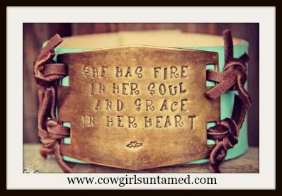 """WILDFLOWER BRACELET """"She has Fire In Her Soul & Grace In Her Heart"""" Bronze on Brown & Aqua Leather Cuff"""