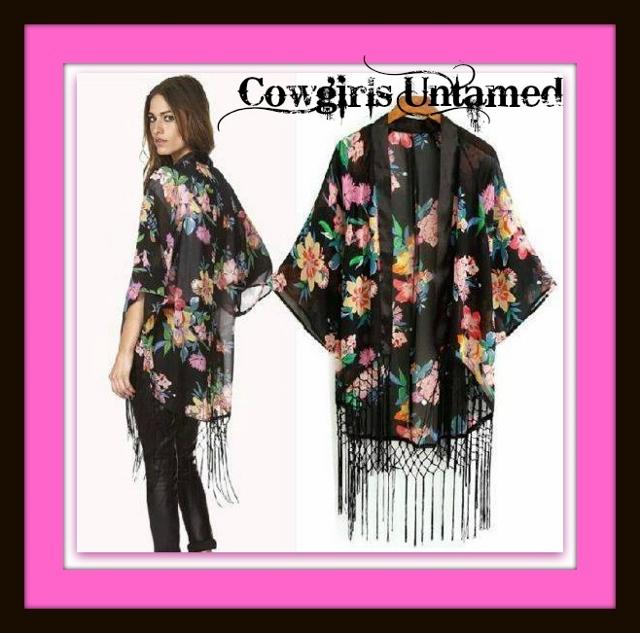 COWGIRL GYPSY JACKET Floral N Fringe Black Chiffon Kimono Style Western Jacket