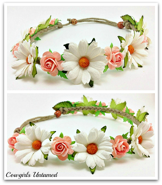 COWGIRL GYPSY HEADBAND Daisy Flower Crown Headband Floral Hair Band