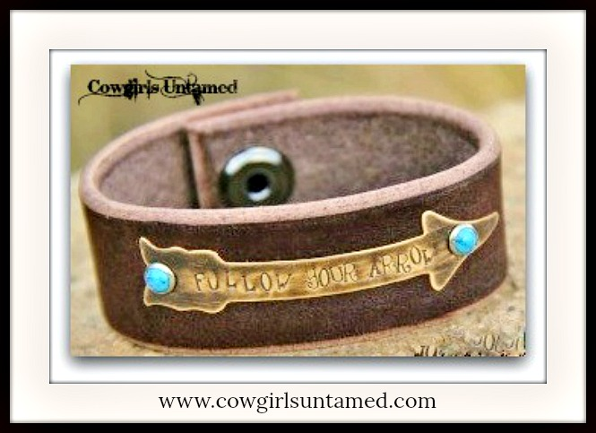 "COWGIRL GYPSY CUFF ""Follow Your Arrow"" Turquoise Studded Antique Bronze Arrow Leather Cuff"