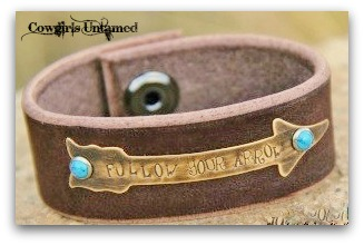 "COWGIRL GYPSY CUFF ""Follow Your Arrow"" Turquoise Studded Antique Bronze Arrow GENUINE Brown Leather Western Cuff"
