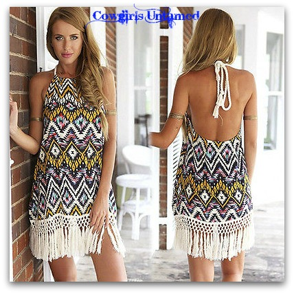 WILD FLOWER DRESS Aztec Print with Fringe Trim Hemline Boho Summer Dress