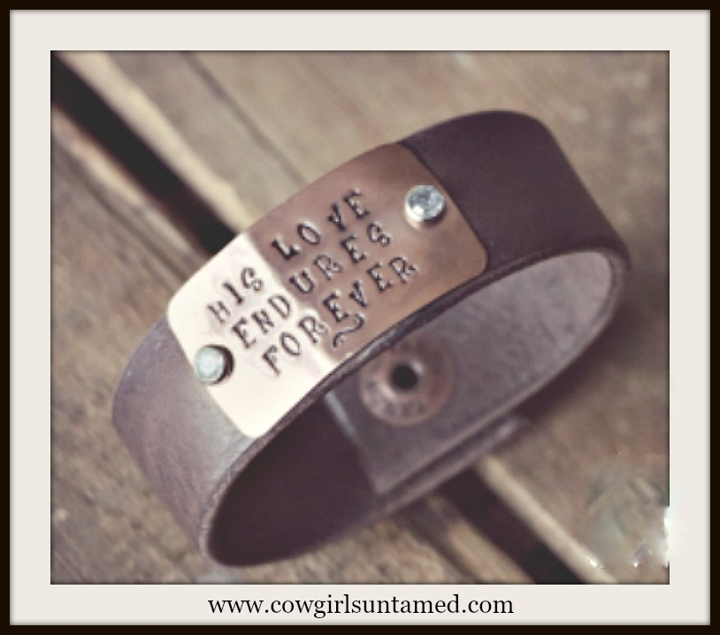 "SPIRITUAL COWGIRL CUFF ""His Love Endures Forever"" Crystal Studded Black Leather Bracelet"